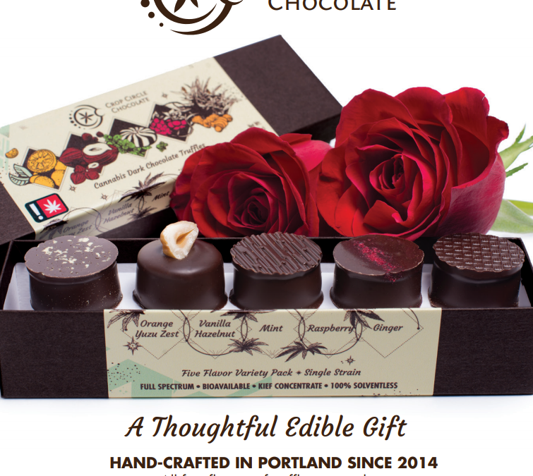 Crop Circle Chocolates Valentine's Ad for Oregon Leaf